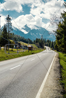 Asphalt road to the High Tatras. Poland