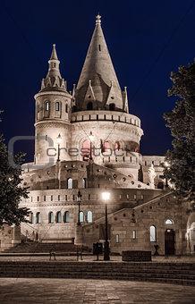 Fisherman's Bastion at night. Budapest, Hungary