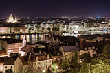 View of Pest at night, eastern part of Budapest. Hungary