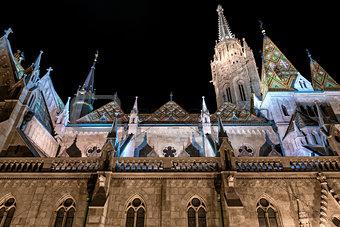 Matthias Church at night. Budapest, Hungary