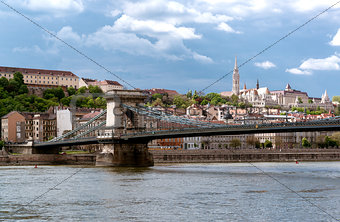 Chain Bridge over Danube river. Budapest city. Hungary
