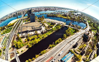 Aerial panoramic fish-eye view of Riga city. Latvia