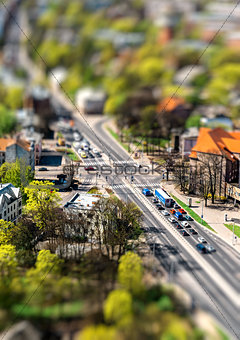 Riga city road with tilt-shift effect. Latvia