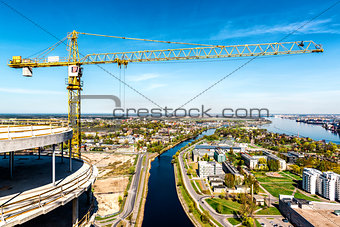 Tower crane in construction site. Riga city, Latvia