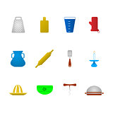 Colored vector icons for kitchenware