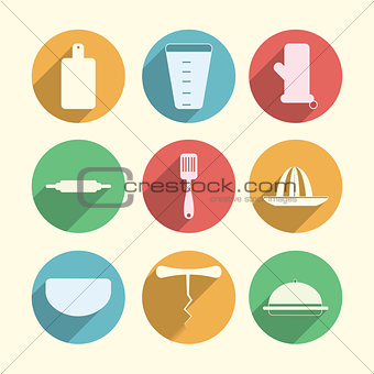 Flat circle vector icons for kitchenware