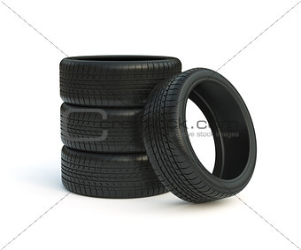 Car tyres stack