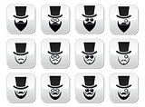 Man with hat with beard and glasses buttons set