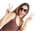 Funny casual teenager girl wearing fashion sunglasses