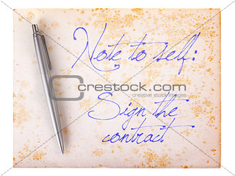 Old paper grunge background - Sign the contract