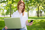 Pretty redhead using her laptop while texting in the park
