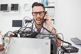 Angry computer engineer making a call