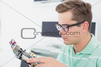 Technician working on broken cpu