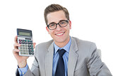 Nerdy businessman showing his calculator