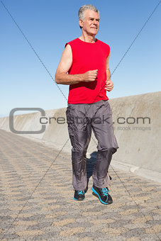 Active senior man jogging on the pier