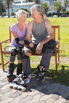 Active senior couple ready to go rollerblading