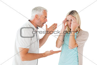 Angry man shouting at his partner