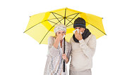 Couple in winter fashion sneezing under umbrella