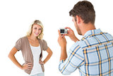 Man taking photo of his pretty girlfriend