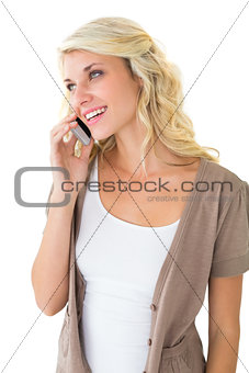 Attractive blonde talking on her smartphone