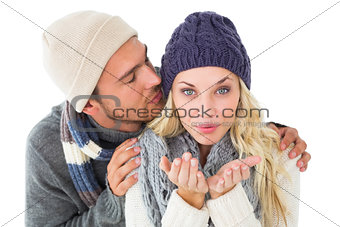 Attractive couple in winter fashion