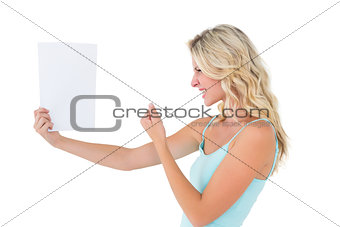 Angry blonde looking at page