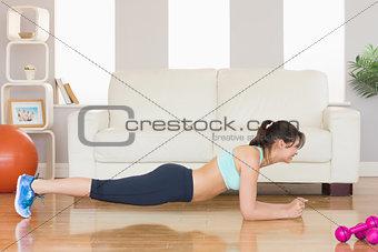 Fit brunette in plank position