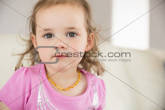 Close up portrait of cute little girl