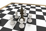 Black king surrounded by white pawns