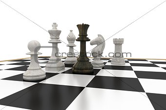 Black queen surrounded by white pieces