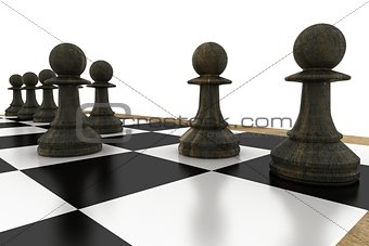 Black pawns on chess board