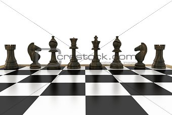 Black chess pieces in a row