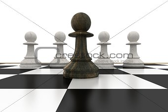 Black pawn in front of white pawns