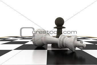Black pawn standing over fallen white king