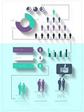 Digitally generated blue and purple business infographic