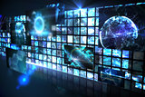 Wall of digital screens in blue