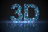 3D made of digital screens in blue
