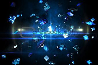 Floating digital screens in blue