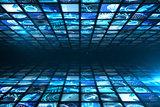 Walls of digital screens in blue
