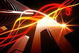 Orange light beams over skyscrapers