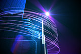 Purple light beams over skyscrapers