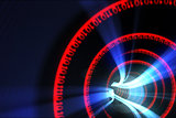Red binary code spiral with blue light