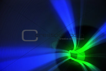 Blue and green vortex with light