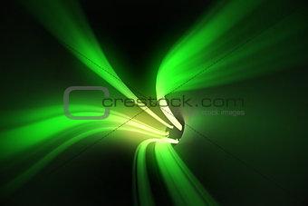 Green vortex with bright light