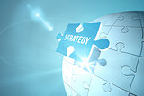 Blue strategy jigsaw piece on puzzle
