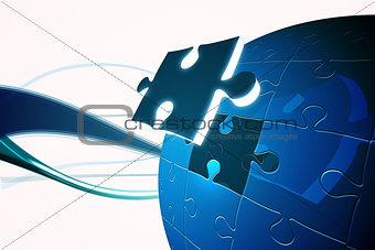 Blue jigsaw piece on puzzle