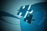 Blue jigsaw piece on puzzle