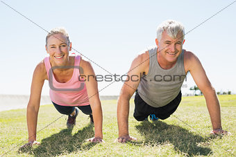 Fit mature couple warming up on the grass
