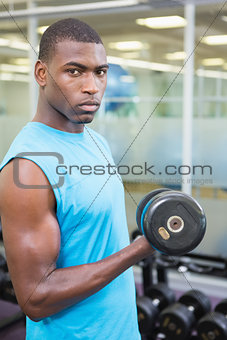 Portrait of young man exercising with dumbbell in gym