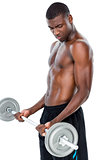 Determined fit shirtless man lifting barbell